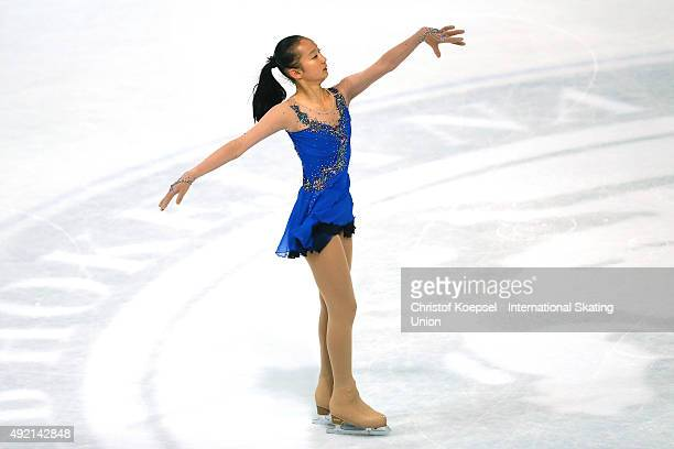 Minglu Zhao of China skates during the junior ladies free skating of the ISU Junior Grand Prix at Dom Sportova on October 10 2015 in Zagreb Croatia