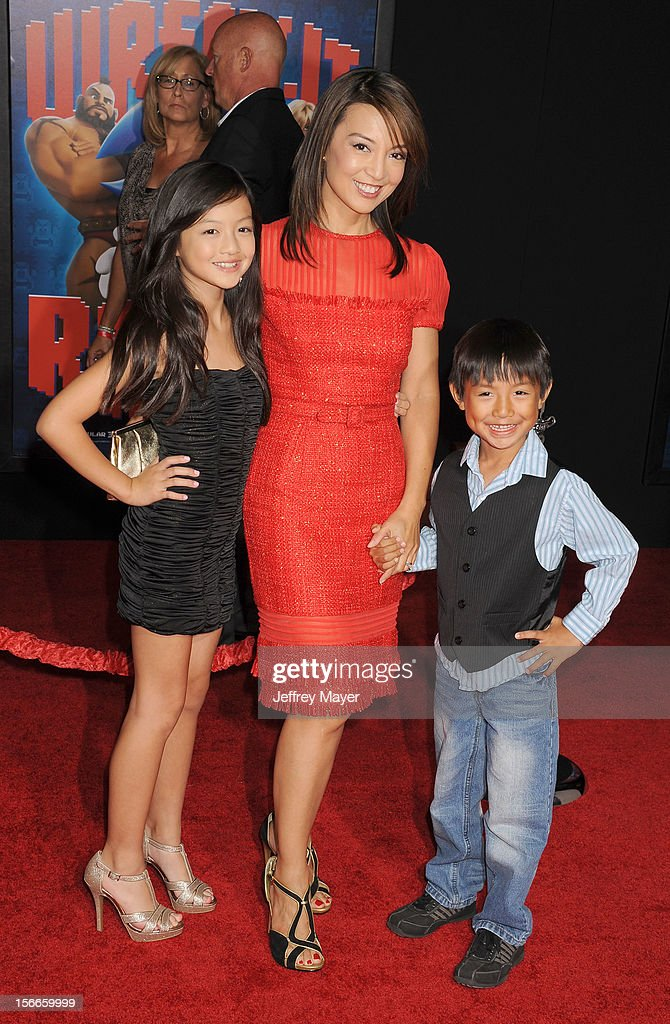 Ming-Na and children arrive at the Los Angeles premiere of 'Wreck-It Ralph' at the El Capitan Theatre on October 29, 2012 in Hollywood, California.