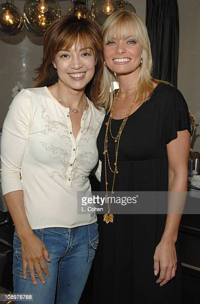 MingNa and Jaime Pressly during John Frieda Luminous Color Glaze PreEmmy Suite at Roosevelt Hotel in Hollywood California United States