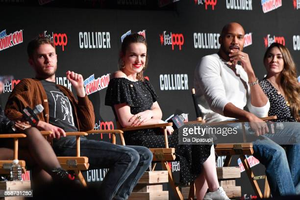MingNa Wen Iain De Caestecker and Elizabeth Henstridge speak at the Marvel's Agents of SHIELD panel during 2017 New York Comic Con Day 3 on October 7...