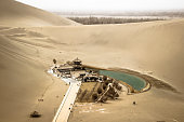 Mingsha shan desert and Crescent moon lake in Dunhuang, Gansu, China