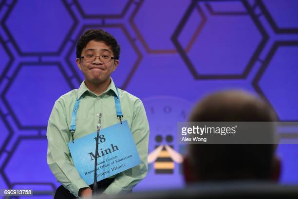 Minh Nguyen of Gilberts Illinois reacts as he tries to spell his word during round two of 2017 Scripps National Spelling Bee at Gaylord National...