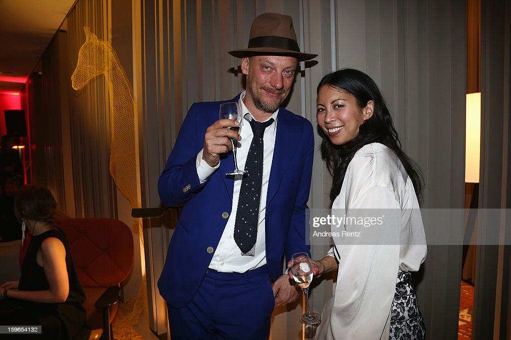 Minh-Khai Phan-Thi (R) and guest attend GQ Best Dressed cocktail at Das Stue hotel on January 17, 2013 in Berlin, Germany.