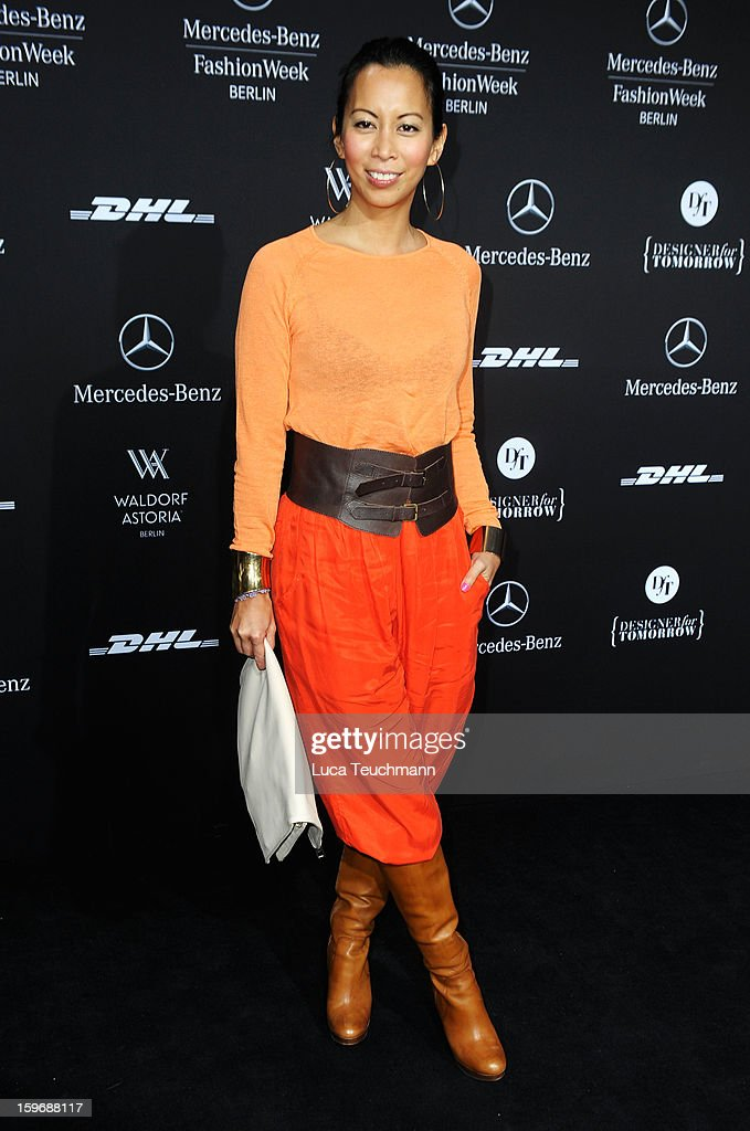 Minh-Khai Phan-Thi attends Zoe Ona Autumn/Winter 2013/14 fashion show during Mercedes-Benz Fashion Week Berlin at Brandenburg Gate on January 18, 2013 in Berlin, Germany.