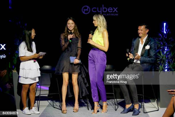 MinhKhai PhanThi designer Anna K supermodel and actress Karolina Kurkova and Martin Pos during the Cybex Fashion Cocktail on September 5 2017 in...