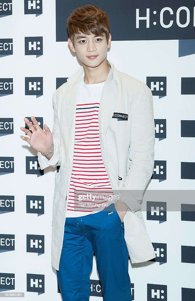 <a gi-track='captionPersonalityLinkClicked' href=/galleries/search?phrase=Minho+-+Singer&family=editorial&specificpeople=10883836 ng-click='$event.stopPropagation()'>Minho</a> of South Korean boy band SHINee attends a promotional event for the 'H:Connect' Gangnam Flagship Store Opening on May 3, 2013 in Seoul, South Korea.