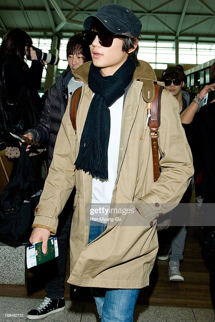 Minho of South Korean boy band SHINee is seen at Incheon International Airport on January 13, 2013 in Incheon, South Korea.