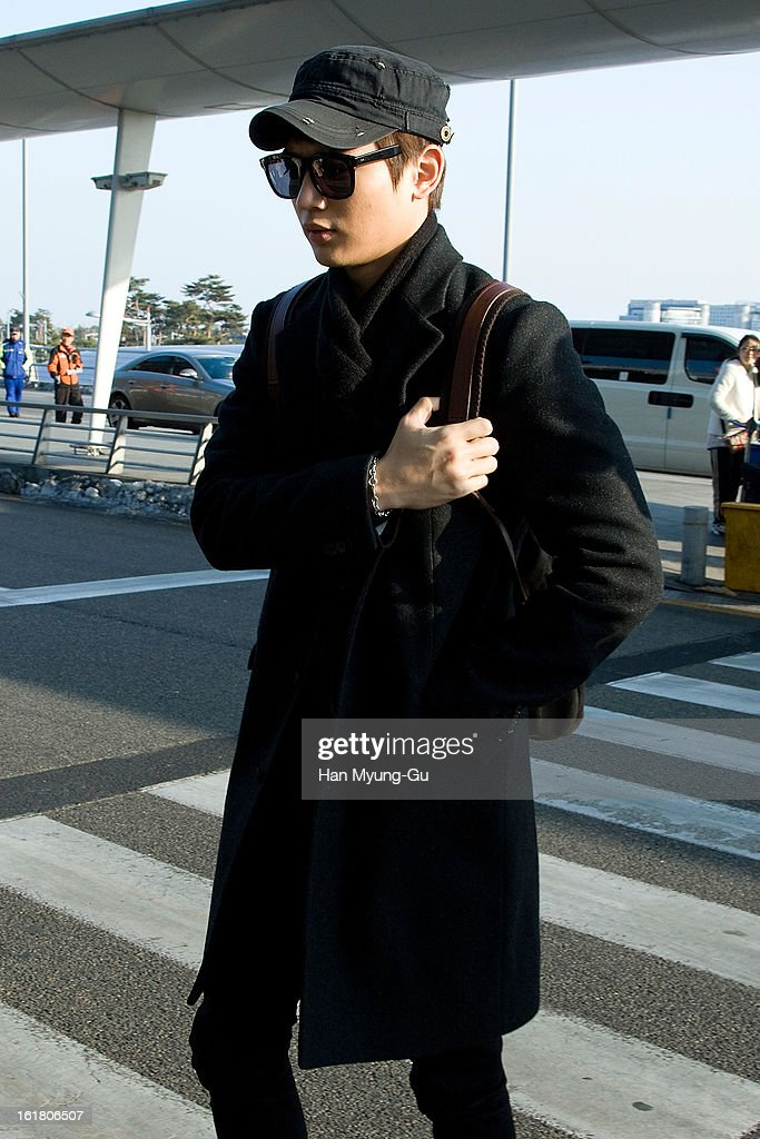 Minho of South Korean boy band SHINee is seen at Incheon International Airport on February 16, 2013 in Incheon, South Korea.