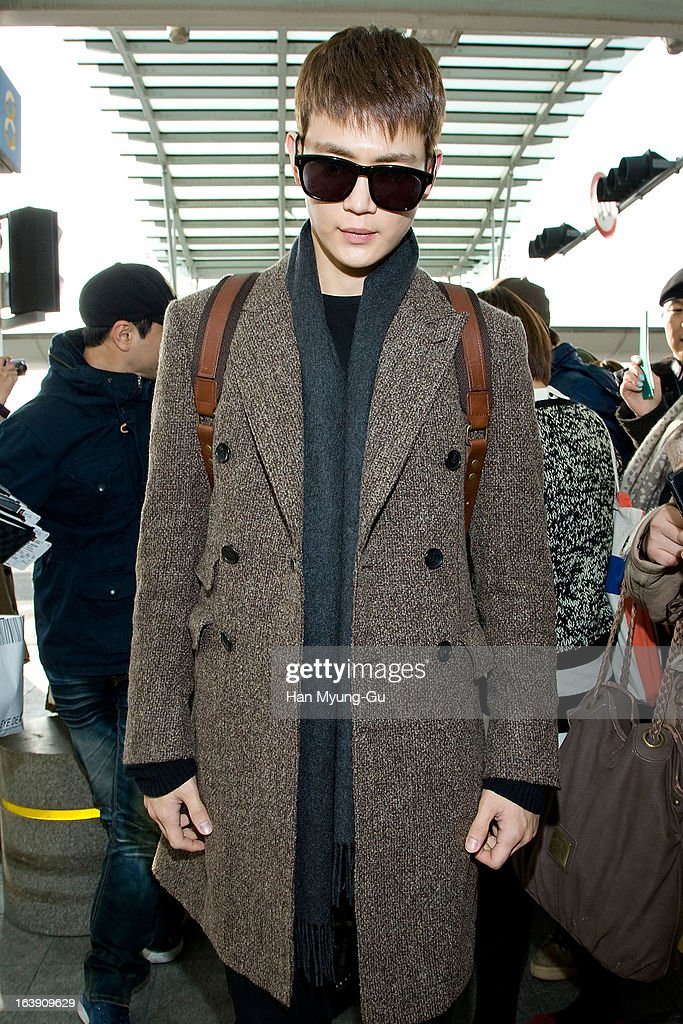 Minho of South Korean boy band SHINee is seen on departure at Incheon International Airport on March 15, 2013 in Incheon, South Korea.
