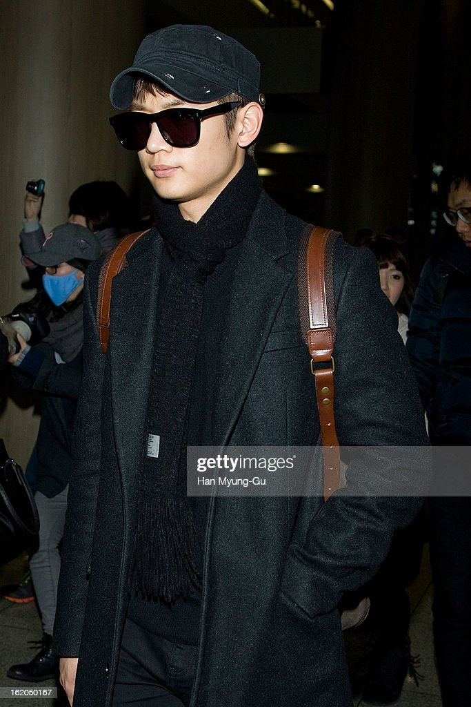 Minho of South Korean boy band SHINee is seen upon arrival at Incheon International Airport on February 18, 2013 in Incheon, South Korea.