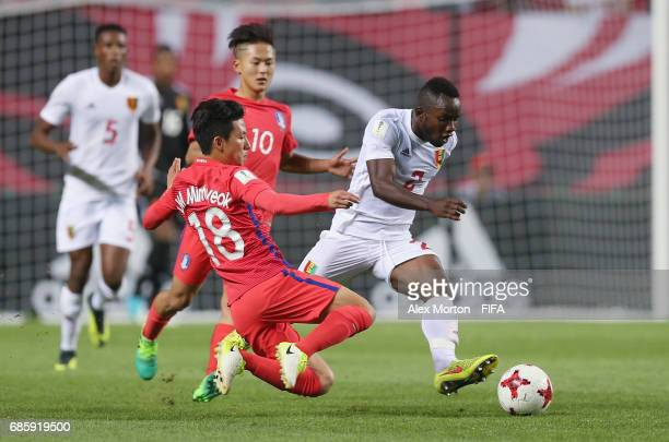 Minhyeok Lim of Korea and Salif Sylla of Guinea during the FIFA U20 World Cup Korea Republic 2017 group A match between Korea Republic and Guinea at...