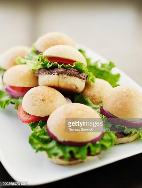 Mini All-American burgers, close-up
