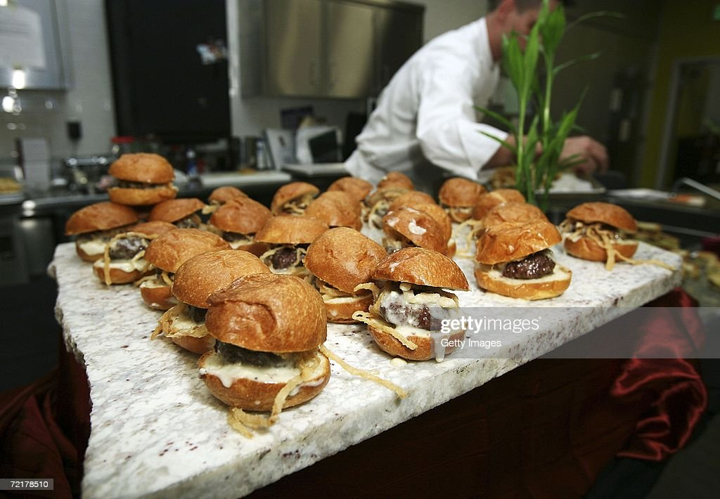 Mini Burgers Being Prepared At U0027The World Cuisine Eventu0027 Hosted By LA  Magazine At