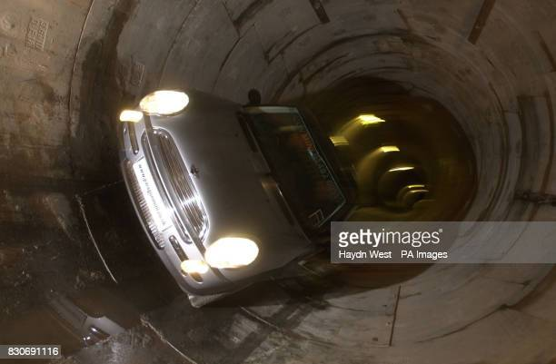 A Mini Cooper drives 20 metres through a Yorkshire Water sewerage tunnel beneath Hull Mariner in a stunt mirroring a scene from the Italian Job * The...