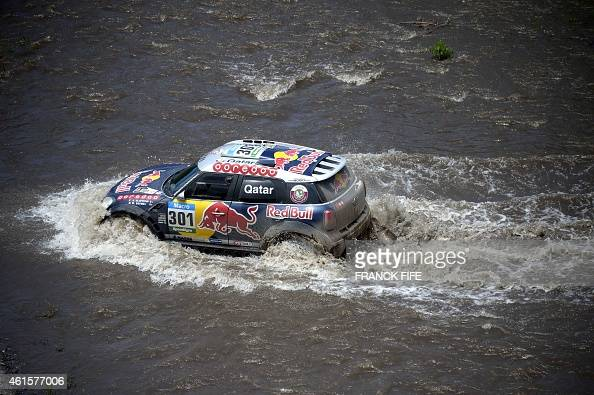 Mini driver Nasser AlAttiyah of Qatar and codriver Mathieu Baumel of France compete during the Stage 11 of the Dakar 2015 between Salta and Termas de...