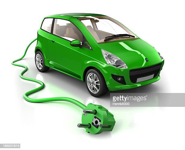 Mini Hybrid Car with cable - isolated on white/clipping path