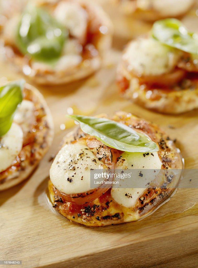 Mini Margharita Pizza on Flat Bread : Stock Photo