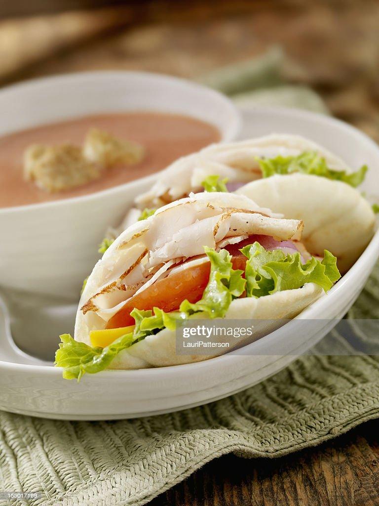 Mini Roast Turkey Pita Sandwich : Stock Photo
