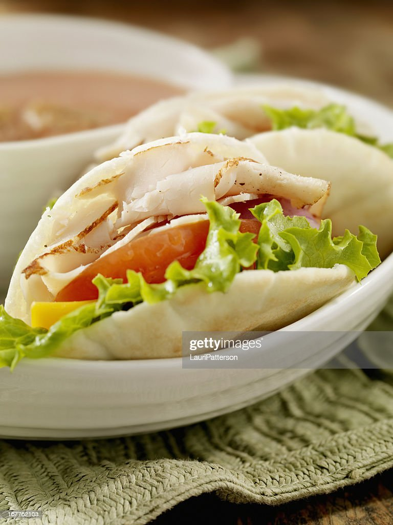 Mini Roast Turkey Pita Sandwich : Stock Photo