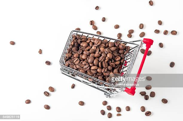 Mini shopping trolley with coffee beans