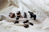 Mini zoo on bed
