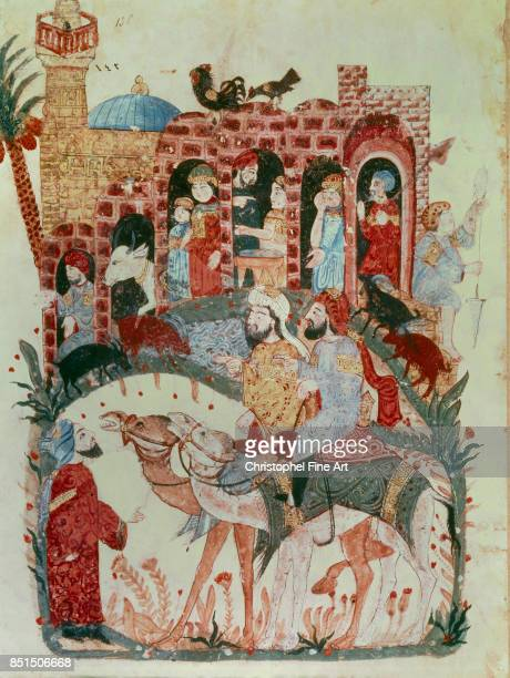 Miniature Abu Zayd and Al Harith Arriving in a Village From Maqamat by Al Hariri Paris Bibliotheque nationale