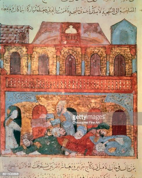 Miniature Abu Zayd and the Sleeping Merchants From Maqamat by Al Hariri Paris Bibliotheque nationale