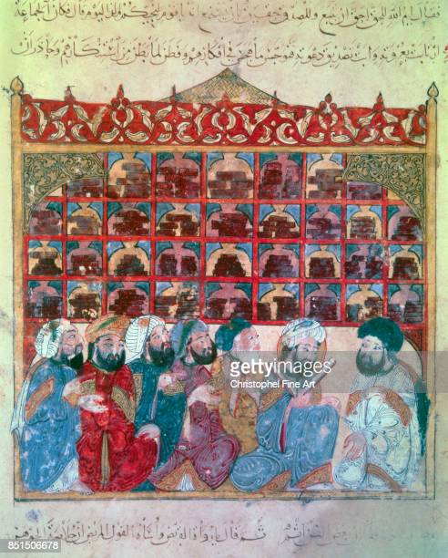 Miniature Abu Zayd at the Basra Library From Maqamat by Al Hariri 1237 Paris Bibliotheque nationale