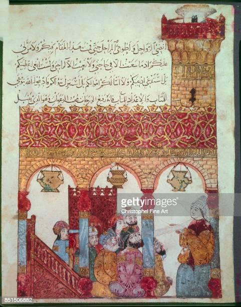 Miniature Abu Zayd in the Mosque of Basra From Maqamat by Al Hariri 1237 Paris Bibliotheque nationale