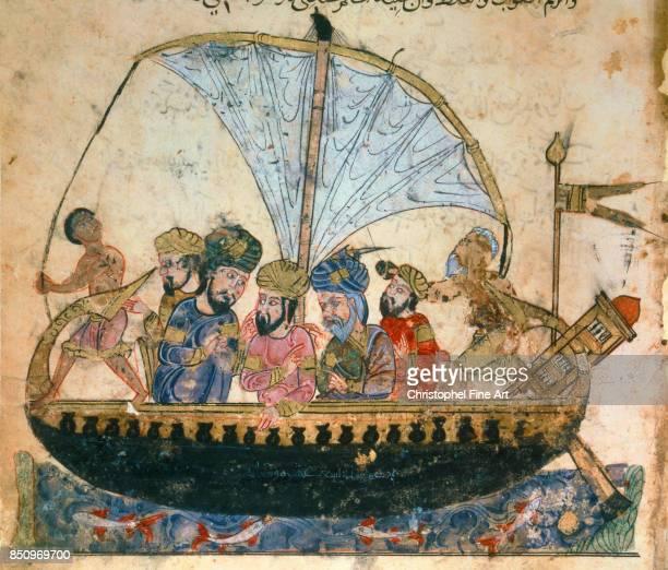 Miniature Abu Zayd on a Boat From Maqamat by Al Hariri Paris Bibliotheque nationale