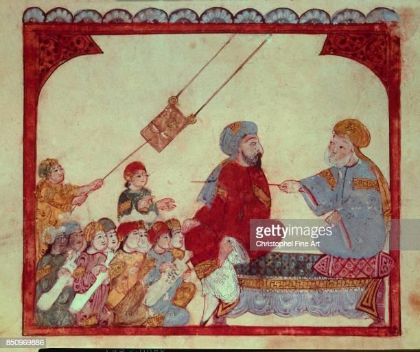 Miniature Abu Zayd Teaching From Maqamat by Al Hariri 1237 Paris Bibliotheque nationale