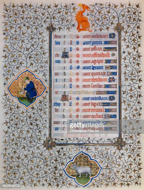 Miniature Book of Hours of the Duke of Guise Astrological Signs Aries The Wicker Reaper Chantilly musee Conde