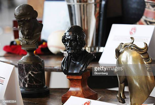 A miniature bronze bust of Aristotle is displayed during a media preview of the auction of personal property that once belonged to Bernard and Ruth...