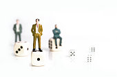 miniature business concept, succes and goal, isolate on white