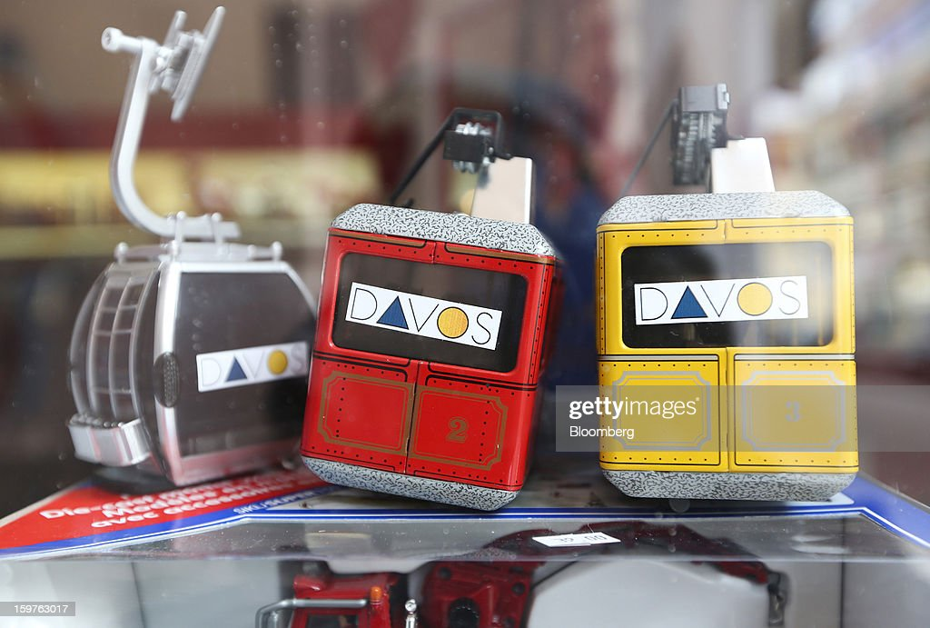 Miniature cable cars are displayed in the window of a souvenir store in the town of Davos, Switzerland, on Saturday, Jan. 19, 2013. Next week the business elite gather in the Swiss Alps for the 43rd annual meeting of the World Economic Forum in Davos, the five day event runs from Jan. 23-27. Photographer: Chris Ratcliffe/Bloomberg via Getty Images