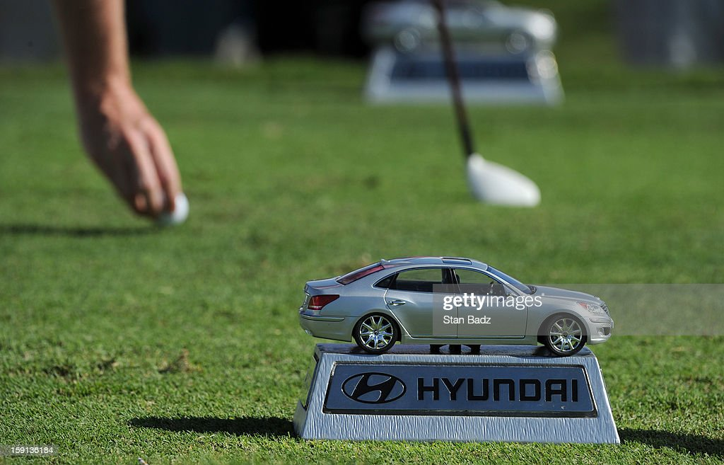 A miniature car is used as a tee box marker on the 14th hole during the final round of the Hyundai Tournament of Champions at Plantation Course at Kapalua on January 8, 2013 in Kapalua, Maui, Hawaii.