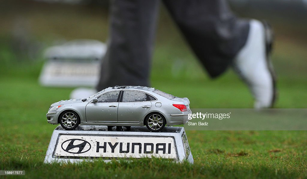 A miniature car is used as a tee box marker on the fourth hole during the Pro-Am round for the Hyundai Tournament of Champions at Plantation Course at Kapalua on January 3, 2013 in Kapalua, Hawaii.