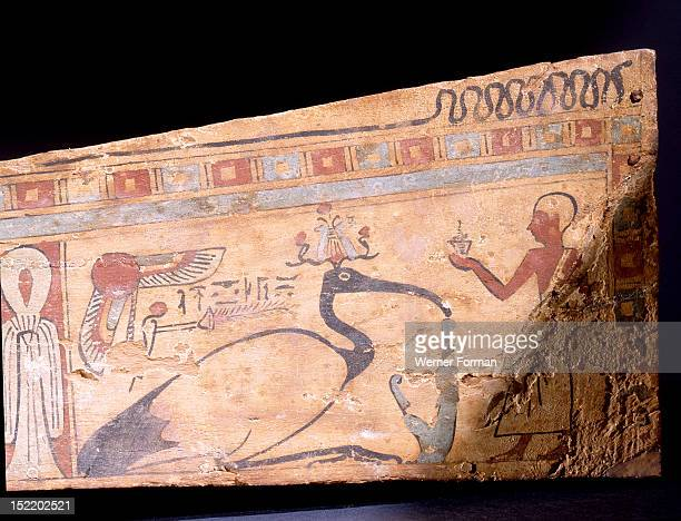 Miniature coffin for the mummy of a sacred ibis A priest is making offerings to a sculpted ibis one of the forms of the god Thoth During the...