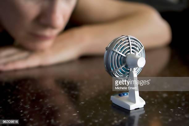 Miniature Desk Fan with Woman