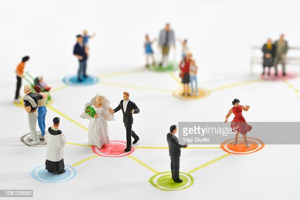 Miniature dolls and a variety of colorful circles