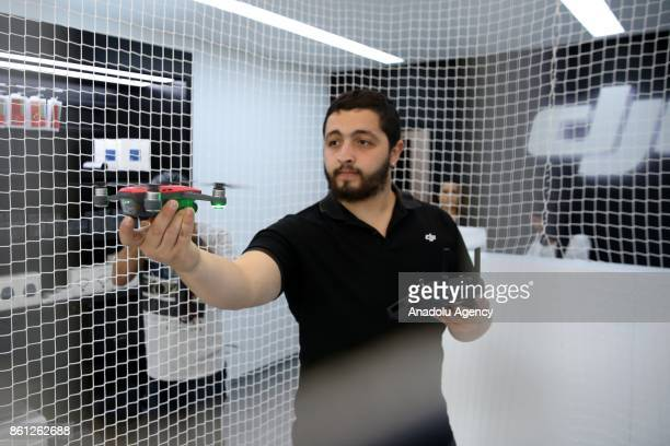 A miniature drone is seen during the opening of DJI's which is the world's biggest Drone producer company 2nd store in Turkey on October 14 2017 in...