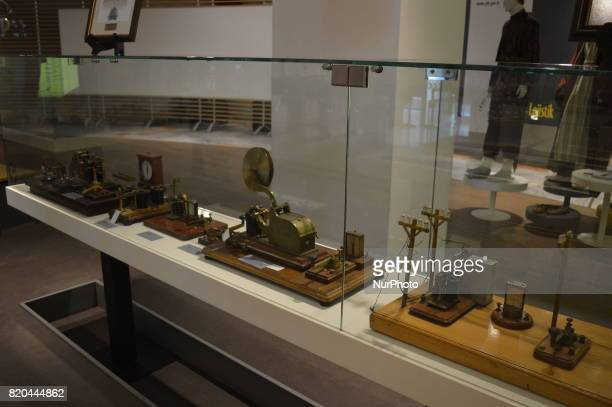 Miniature figures of communication are seen at the PTT Stamp Museum in Ankara Turkey on July 21 2017