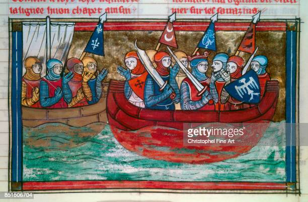 Miniature Godfrey of Bouillon and the Crusaders Sailing Towards the Holy Land From The Romance of Godfrey of Bouillon Paris Bibliotheque nationale