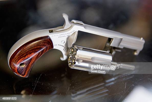 A miniature handgun is offered for sale at Freddie Bear Sports on March 11 2015 in Tinley Park Illinois According to a survey conducted by the...