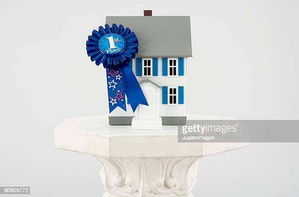 Miniature house and blue ribbon