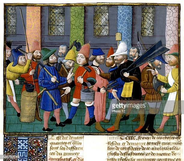 Miniature in 'Politics' by Aristoteles Translation by Nicolas Oresme A farmers' meeting France 15th century