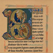Miniature Initial and Part of a Page from a Psalter 13th century Thought to feature King David and Goliath From The Connoisseur Vol I by [Otto...