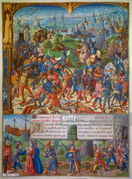 Miniature King Louis IX of France and the Crusaders after Being Defeated by the Saracens at Mansourah 5 April 1250 1250 Paris Bibliotheque nationale