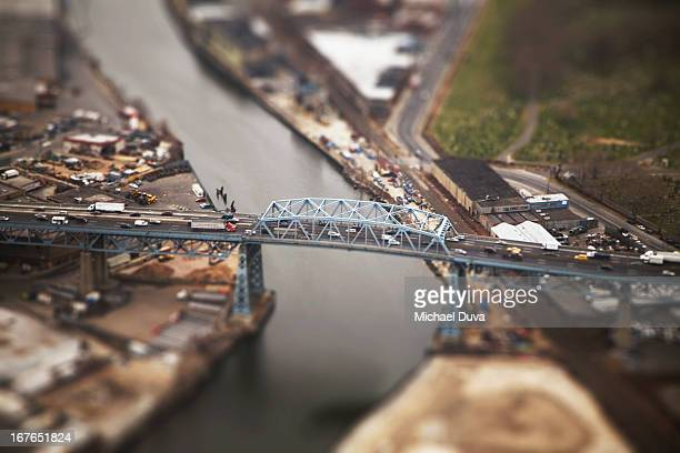 miniature of bridge, cars, industrial, tiltshift