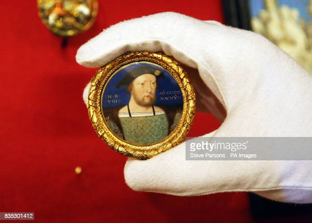 A miniature of Henry VIII by Lucas Horenbout is carefully checked as the final preparations are put in place for the Henry VIII A 500th Anniversary...
